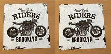 2x Vintage Biker Adesivo Adesivo NY NEW YORK CHOPPER USA v2 EASY RIDER m019