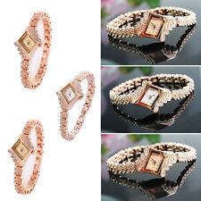 Fashion Women's Lady Crystal Bracelet Stainless Steel Analog Quartz Wrist Watch