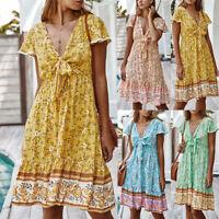 Women Boho Floral Short Sleeve V Neck Mini Dress Summer Holiday Beach Sundress
