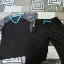 Womens Carhartt scrubs Black with Turquoise detail/top size L, bottom size M