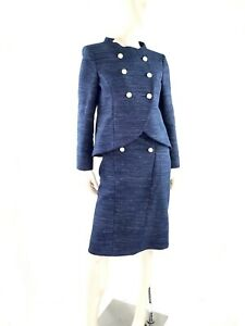 CHANEL Tweed Blue Navy White Button Two Piece Jacket Skirt Suit 40