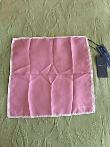 TED BAKER London 100% Silk Pocket Square Pink NWT Made in Italy