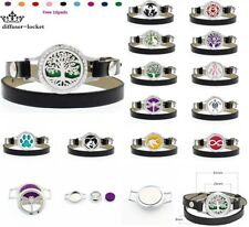 25MM Alloy Essential Oil Bracelet Leather Wrap Aroma Diffuser Crystal Locket