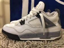 NIKE AIR JORDAN 4 IV RETRO GS, WHITE BLACK CEMENT, 408452-103, Boy's Size 7Y