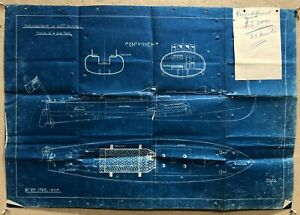 Antique Skimmer Motor Racing Speed Boat Blueprint Drawing Print Poster Vintage B
