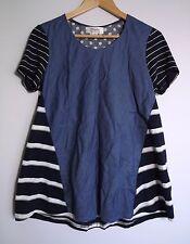 Clarity Women's Blue White & Grey Stripe & Polka Dot Short-Sleeve Top - Size S