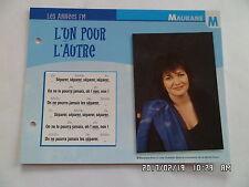 CARTE FICHE PLAISIR DE CHANTER MAURANE L'UN POUR L'AUTRE