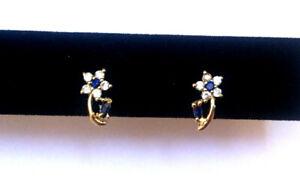 14k Yellow Gold Fancy Cubic Zirconia Flower Latch Back Earrings - Stunning