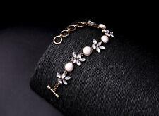 Bracelet Doré Géométrique Perle Goutte Nacré Floral Chaine Fin Retro CT 7