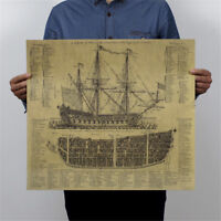 ancient warship kraft paper poster history wall sticker painting antique decor P