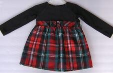 Healthtex Christmas Dress Red Plaid Black Velvet Gold Metallic Size 3T Toddler