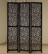 Brand New 3-panels double side-WOOD SCREEN wish SWIRL PATTERN- BLACK- ASDI