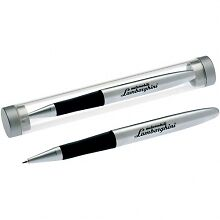 LAMBORGHINI GENUINE COLLECTION BALL POINT SILVER PEN W/ BLACK INK IN CIGAR TUBE