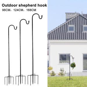 Shepherd Crook Hooks Bird Feeder Pole Stand Garden Plant Pot Basket Lamp Hanger