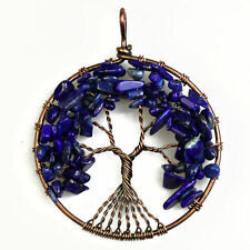 Natural Lapis Lazuli Chip Beads Tree of Life Copper Round Pendant Fit Necklace