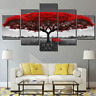 Red Tree Scenery 5 Panel Canvas Print Wall Art Decor Picture for living room
