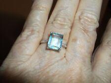 Ring--Sz 7-Aquamarine Quartz 4 carats, tiny diamonds, in sterling--new