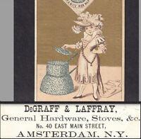 Amsterdam NY 1800s DeGraff & Laffray Hardware Store Granite Iron Ware Trade Card