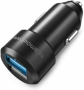 USB Car Charger RAVPower 24W 4.8A Metal Dual Car Adapter, Compatible iPhone Xs M