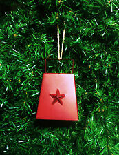 COWBELL CHRISTMAS ORNAMENT MINI COWBELL RED w/WORKING BELL METAL STRUCTURE