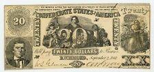 1861 T-20 $20 The Confederate States of America Note - Civil War Era