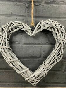 Grey Washed Woven Rattan Hanging Heart 30cm