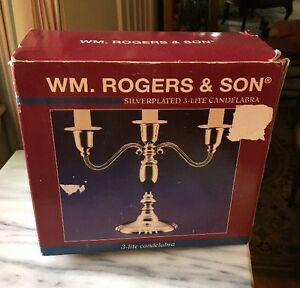 2000 William Rogers & Son Silverplated 3-Lite Candelabra NIB Never Opened