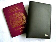 Genuine LACOSTE DARK BROWN Leather PASSPORT & CARD HOLDER Cover Wallet L6
