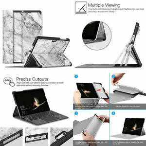 Microsoft Surface Go 2 2020 Case Magnetic Closure PU Leather Cover Marble White
