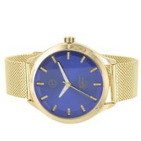 Blue Dial Watch Mesh Band Techno Pave Gold Tone Water Resistant Analog Formal