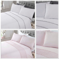 "Rapport ""Pom Pom"" Trim Duvet Cover Bedding Set White/Grey Or Blush Pink"