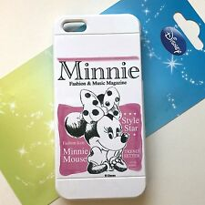 For iPhone SE 5S - TPU RUBBER GUMMY SKIN CASE COVER MINNIE MOUSE PINK / WHITE