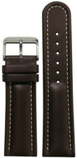 18mm Panatime Dark Brown Padded Saddle Leather Watch Band with White Stitch