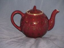 Hall 12 Cup Teapot-French Flower-Maroon w/Gold FlowerAccents-05.3-USA-EC