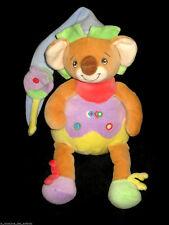 Doudou Koala Coco marron vert violet jaune Takinou Nounours bonnet bleu
