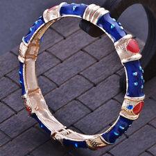 Statement Charm Gold Filled Deep blue Enamel bangle charms bracelet