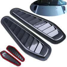 2Pcs Carbon Fiber Car Decorative Air Intake Scoop Turbo Bonnet Vent Cover Hood