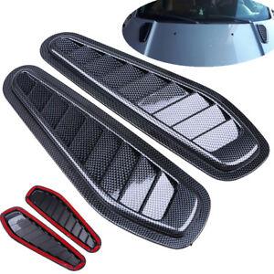 2X ABS Race Car Hood Scoop Carbon Style Bonnet Air Vent Decorative Accessories