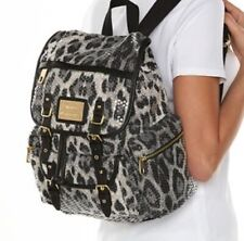 Juicy Couture Sequin Leopard Cheetah Print Black White Gray Backpack