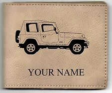 Jeep Wrangler Leather Billfold With Drawing and Your Name On It-Nice Quality