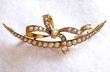 VINTAGE look vittoriano o Periodo edoardiano 9 KT Crescent, Nastro Design & 37 spilla di perle
