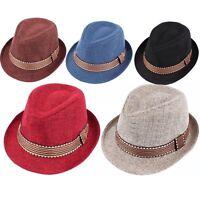 Kids Boys Girls Unisex Fedora Hat Contrast Trim Cool Jazz Hat Felt Trilby Cap