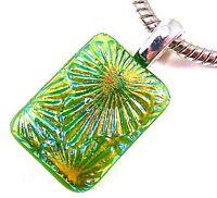 "DICHROIC Fused Glass PENDANT Gold Orange Green Starburst Patterned Dichro - 1"""
