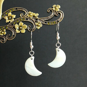 Pearlescent White Shell Crescent Moon Dangly Drop Earrings