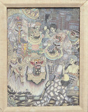 Gorgeous BALI UBUD painting in hand-carved frame Signed by Wyn Runi