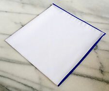 Cotton Pocket Square - Solid White Cotton Pocket Square with Navy Border/Edge