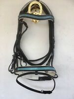 LOVELY BLUE DIAMONTE LEATHER COMFORT BRIDLE WITH WHITE PADDING