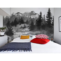 Wall Mural Sticker Dark Hand Drawn Watercolor Forest Removable Wallpaper
