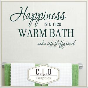 Happiness Bath Quote Wall Sticker Vinyl Art Bathroom Transfer Decor Large Decal