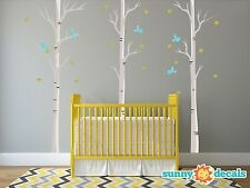 Modern Birch Trees Fabric Wall Decals with Birds & Leaves, Set of 3 Birch Trees